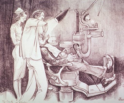 <p>A man sitting in a dental chair is having a wisdom tooth removed.  A dental assistant stands behind the dentist.</p>