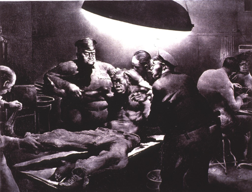 <p>Showing two policemen holding a man on a table for treatment by a doctor.</p>