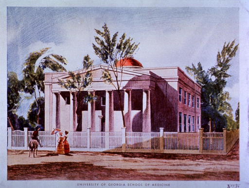 <p>An advertisement for phytine uses an exterior view of a square building with portico and columns surrounded by a white fence. Two women are strolling by and a man on horseback has stopped in front of the building.</p>