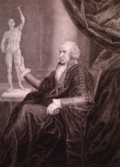 <p>Three-quarter length, seated, left pose; hand on statue.</p>