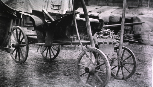 <p>A view of a drosky, an open, horse-drawn carriage.</p>