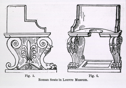 <p>Front and profile views of a chair with cut-outs in the seat and in the base of the chair which was apparently placed over a receptacle and used as a toilet.</p>