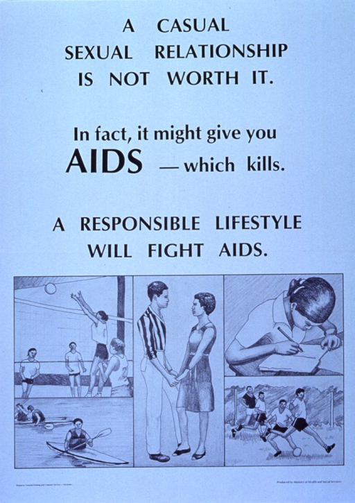 <p>Light blue poster with black lettering.  Title and note in upper portion of poster.  Five illustrations in lower portion of poster focus on a young male-female couple.  The couple stands holding hands in the largest illustration.  Others show that the girl plays volleyball and studies, while the boy kayaks and plays soccer.  Publisher information in lower right corner.</p>