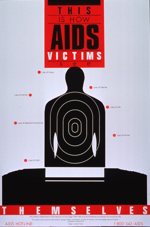 <p>Red, white, and black poster.  Most title text at top of poster.  Visual image is a silhouette of a human figure with a target superimposed, as if for shooting practice.  Phrases surrounding silhouette list problems faced by people with AIDS including loss of hope, family, friends, job, home, insurance, and faith.  Final title word below illustration.  Note and sponsor information at bottom of poster, along with an AIDS hotline number.</p>