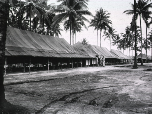 <p>Long distance view of three military personnel standing and chatting in front of a group of tents pitched amidst palm trees.</p>