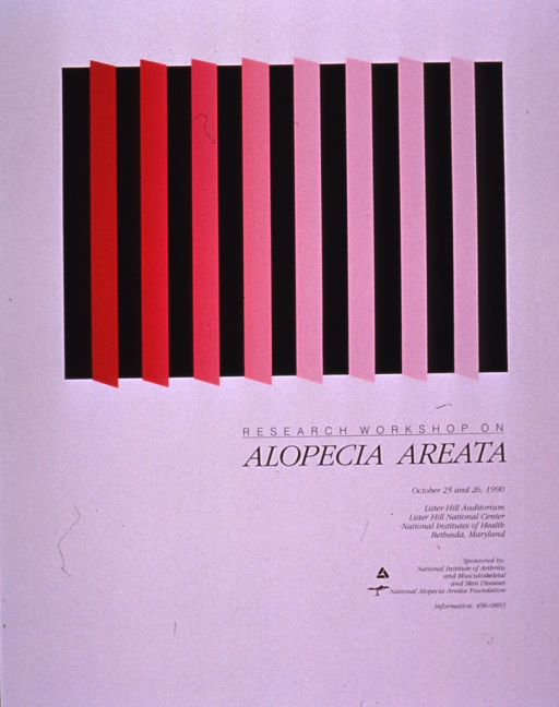 <p>Predominantly pale lavender poster with black lettering announcing a workshop held Oct. 1990.  Visual image is an array of burgundy and pink bars.  The burgundy bars are made from a very shiny, synthetic substance.  Title below image; workshop details and sponsor information below title.</p>