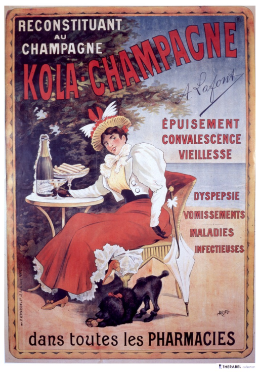 <p>Next to a tree on a beach, a proper woman is sitting at a table with a champaign glass, a bottle of A. Lafont's Kola Champagne, and a plate of biscuits.  At the woman's feet is a poodle licking a Kola Champagne biscuit.  This strength-building drink is recommended for exhaustion, age, dyspepsia, vomiting, disease.</p>
