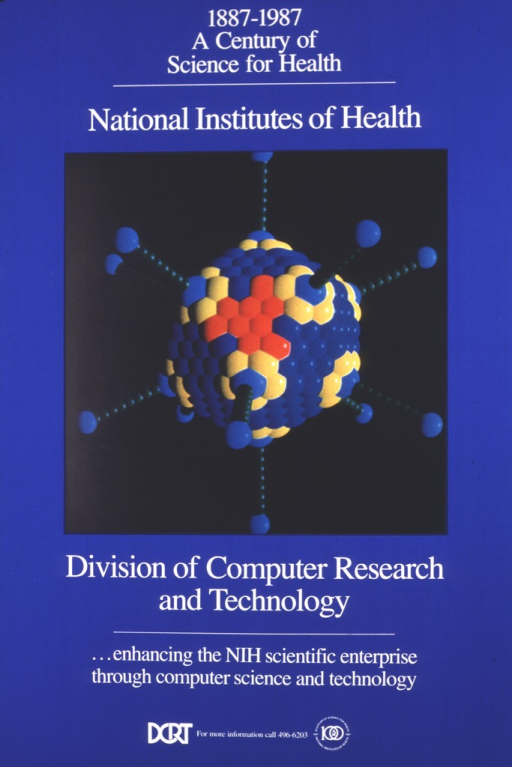 <p>The poster is a deep royal blue with a large black square in the center.  Inside the square is a multi-colored molecular model.  The logo for the &quot;century of science for health&quot; is at the bottom of the poster along with a phone number for further information and the acronym for the Division.</p>