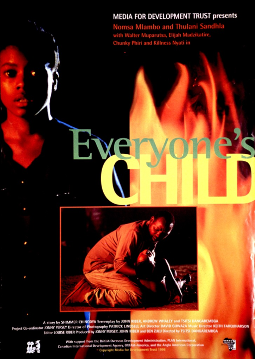 <p>Predominantly black poster with multicolor lettering, advertising a movie.  Publisher and performers listed in upper right corner.  Title at center of poster.  Three images on poster, all reproductions of color photos.  On left, a teenage girl with a worried expression.  On right, flames.  Smaller photo superimposed on larger images features a man picking up a limp child who was lying on the ground.  Text at bottom of poster lists additional credits for movie and project sponsors.</p>