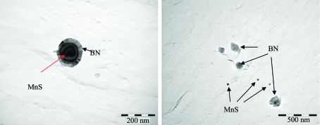 TEM bright-field images of the precipitates for the BA low-carbon steels.