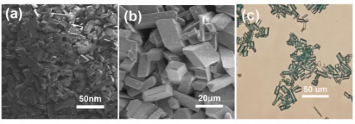Images of MCPs-1. (a, b) Representative SEM images of the hierarchical MCPs-1: (a) nanoscale CPs and (b) microscale CPs. (c) optical image of macroscale CPs.