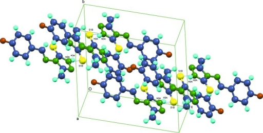 The packing of the molecules showing the formation of hydrogen bonds that link inequivalent molecules into dimers via N3A—H3A···S1B and N3A—H3A···S1B.
