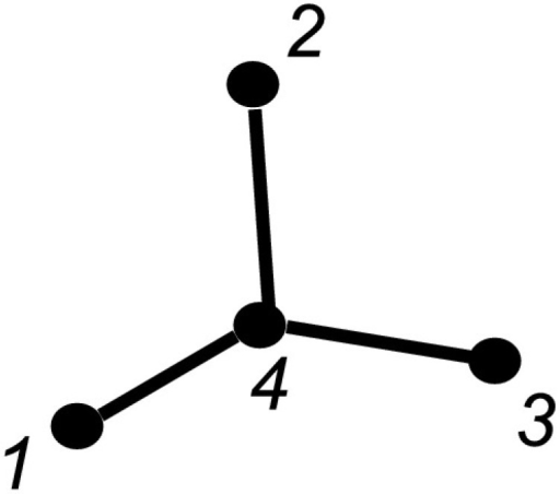 Star graph with P=4 nodes