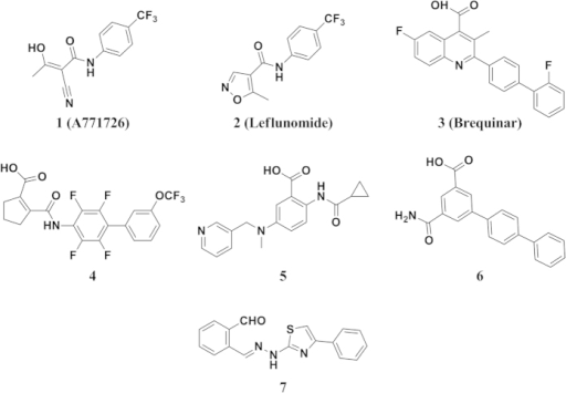 Selected structures of reported hDHODH inhibitors.Compound 7 is the lead in this study identified in our previous work.