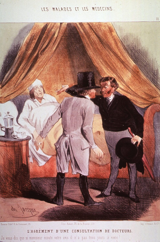 <p>Two physicians standing at a patient's bedside are in consultation.</p>