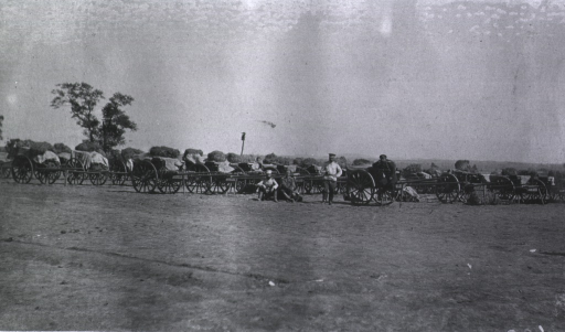 <p>A view of personnel and medical transport carts at a Division Lazaret.</p>