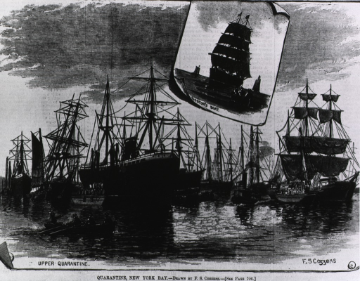 <p>Quarantine, New York Bay: Upper quarantine (view of ships at anchor) and doctor's boat (inset vignette of the boat being rowed toward anchored ship).</p>