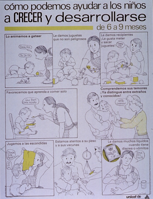 <p>White poster with black lettering.  Title at top of poster.  Poster is a series of illustrations in which a family attends to its 6- to 9-month old infant.  Scenes include baby starting to crawl, not letting baby play with dangerous things, playing give and take with baby, encouraging baby to feed himself, understanding baby's fears of strangers, playing peek-a-boo, checking baby's weight, and getting appropriate vaccines, giving baby plenty of fluids when stricken with diarrhea or vomiting.  UNICEF and health agency logo in lower right corner.</p>