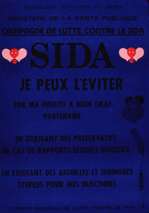<p>Predominantly blue poster with black lettering.  Title near top of poster.  Visual images are illustrations of cartoon-style viruses, a male-female couple, a condom, and a syringe.  Note text dominates poster, describing ways that AIDS can be avoided.  Publisher information at bottom of poster.</p>