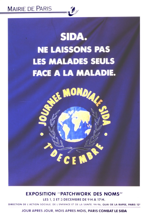 <p>Image is of a globe showing all the continents, surrounded by green leaves.  The words around the globe say &quot;Journee mondiale sida, 1er decembre&quot;.  The globe, leaves, and letters are appliqued on a piece of blue cloth.</p>