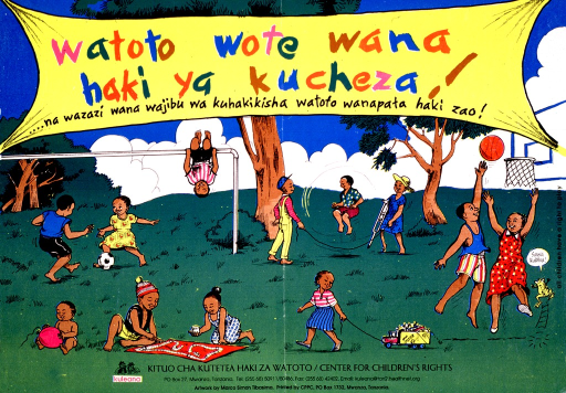 <p>Multicolor poster.  Poster is an illustration of several children in a park engaged in many kinds of sports and play.  A banner near top of poster bears title.  A small frog in the lower right corner speaks the note text, which means &quot;totally equal.&quot;  Publisher information at bottom of poster.</p>
