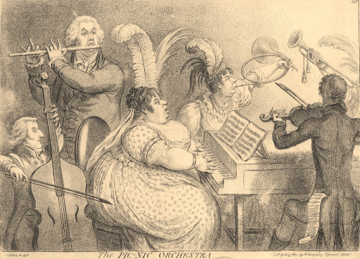 <p>Caricature of The Pic-nic Society, a group of fashionables who performed exclusive entertainments. In this satire, four musical members of the society, including the central figure of the obese Lady Buckinghamshire, are shown playing various instruments.</p>