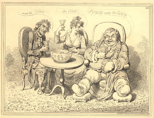 <p>Three revellers sit at a small round table on which is a large punch-bowl.  Each of the three holds a glass.  The title words are inscribed in scrolls above the heads of the three revellers.</p>