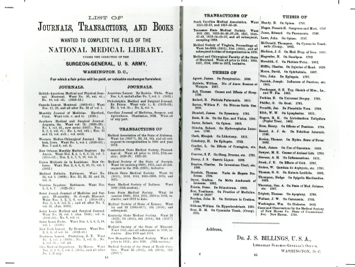 <p>Richard J. Dunglison of Philadelphia assisted John Shaw Billings by placing this two-page advertisement free in Dunglison's Ready Reference List for Physicians (1876).  Note that Dr. Billings called the collection the &quot;National Medical Library.&quot; Appears in A history of the National Library of Medicine by Dr. Wyndham D. Miles, p.77.</p>