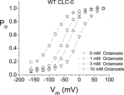 The effect of octanoate in shifting the fast gate Po-V curve of the wild-type CLC-0 channel.