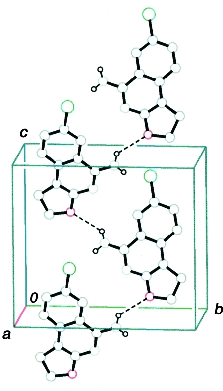 A packing diagram of the title compound, showing a molecular chain running along the c axis. The dashed lines indicate N—H···O hydrogen bonds. C-bound H atoms have been omitted.