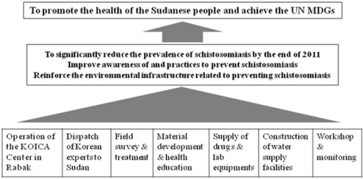 "Flow diagram of ""The Project for Combating Schistosomiasis in Sudan 2009–2011.""KOICA, Korea International Cooperation Agency. MDG; Millennium Development Goals established following the Millennium Summit of the United Nations in 2000."