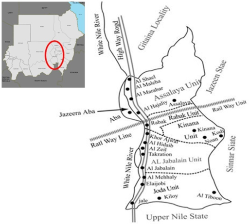 "Location of the Al Jabalain locality, the site of ""The Project for Combating Schistosomiasis in Sudan 2009–2011"".The Al Jabalain locality is situated on the east bank of the White Nile River in southern White Nile State. Dot (•); baseline survey areas of each unit in the Al Jabalain locality of White Nile State, Sudan."