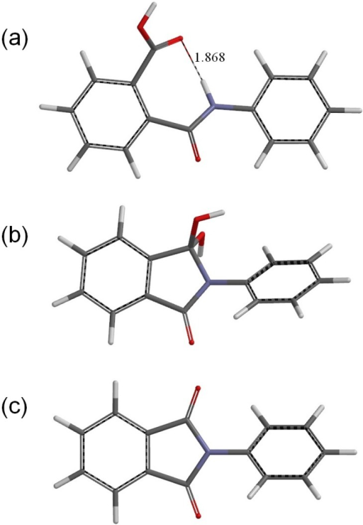 The geometries of (a) the reactant R (phthalanilic acid); (b) the gem-diol tetrahedral intermediate I; and (c) the N-phenylphthalimide product P. A hydrogen bond distance is shown in Å for R.