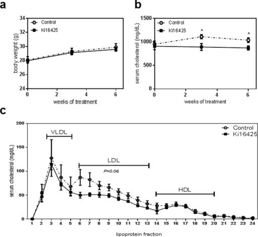LPA1/3 inhibition reduces total cholesterol content in the serum.(a) The animal body weight showed no significant differences throughout 6 weeks of treatment between the groups. (b) Total serum cholesterol remained at significantly lower levels in the Ki16425 group compared to the control. (c) The Ki16425 treated animals presented a trend towards reduced LDL levels (P = 0.06). P-values are calculated by the fraction sum for each lipoprotein per group (n = 5/grp). All values are depicted as mean ± SEM (*P < 0.05).