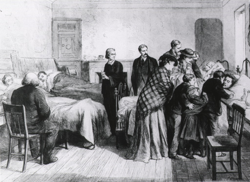 <p>Hospital ward in Wales - &quot;Victims of a flooded colliery&quot;.</p>