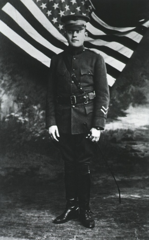 <p>Standing, full length, front pose, in uniform.</p>