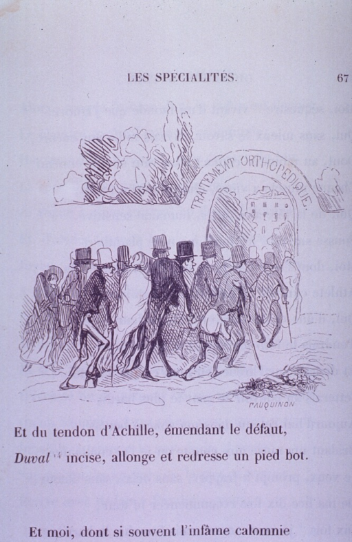 <p>Many lame and hunch-back people walk under an arch labeled &quot;Traitement Orthopedique.&quot;</p>
