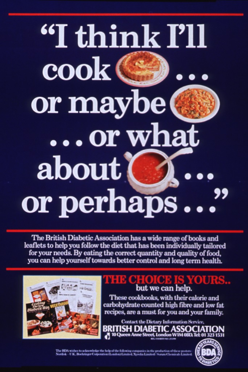 <p>Navy blue poster with white and red lettering.  Title at top of poster.  Bracketed words represent color photos of the foods.  Caption below title with photos.  Caption, information on cookbooks, publisher information, and sponsor list at bottom of poster.</p>