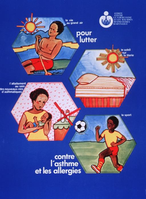 <p>Bright blue poster with white lettering.  Publisher information and logo in upper right corner.  Initial title words below logo.  Visual image is a series of four illustrations depicting ways to fight asthma and allergies.  Scenes include a man rowing a boat to get fresh air, the sun shining on an airing bed to destroy allergens, a mother not using bottles to feed her baby to provide antibodies through breast milk, and a boy playing soccer to improve lung capacity.  Remaining title words near bottom center of poster.</p>