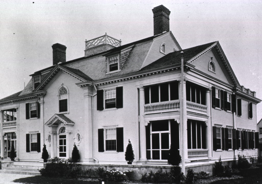 <p>View of front and right side of the Connecticut State Building, part of the state buildings exhibit at the Jamestown Ter-centennial Exposition; the building is a reproduction of the home of Benjamin Tallmadge, and represents the first colonial mansion erected in Connecticut.</p>