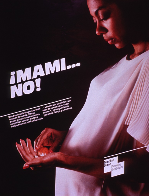 <p>Multicolor poster with white and black lettering.  Title near center of poster.  Lengthy caption below title discusses the risks of taking medications during pregnancy, taking only prescribed medications, and seeking prenatal care.  Visual image is a color photo reproduction featuring a pregnant woman taking pills.  Publisher information and note in lower right corner.</p>