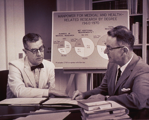 <p>Dr. James Shannon and Mr. Joseph Murtaugh discuss future manpower needs.  There is a chart on a stand showing pie graphs.  The chart is titled: Manpower for medical and health-related research by degree 1960-1970.</p>