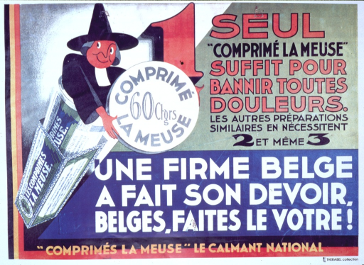 <p>A priestly looking character is coming out of a container of Les Comprimes la Meuse in an advertisement for a tablet that banishes all pain.  Laboratoire de la Meuse is written on the container's  box.</p>