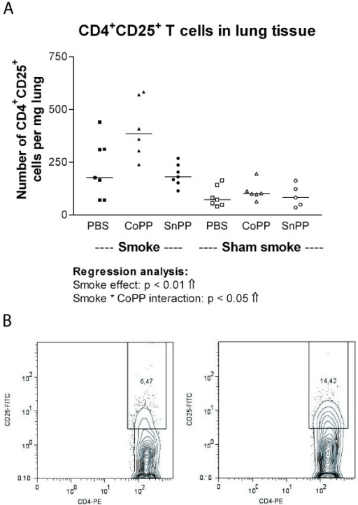 CD4+ CD25+ T cells in lung tissue. A: CD4+CD25+ T cells expressed as numbers per mg lung tissue after long term smoke exposure and protoporphyrin treatment. Smoke groups are represented by closed symbols and sham smoke groups by open symbols. The significant results of the regression analysis are depicted beneath the figure. B: Example of the flow cytometry analysis: The percentage of CD25 positive cells within the CD4+ T cell population is shown for a PBS (left) and a CoPP (right) smoking mouse.