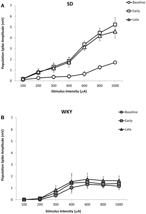 LTP of the dentate gyrus population spike following HFS of the medial perforant pathway in SD and WKY rats. Following HFS, SD rats exhibited robust early and late phase LTP of the population spike (A). In contrast to SD rats, early or late phase LTP of the population spike was not observed in WKY rats (B).
