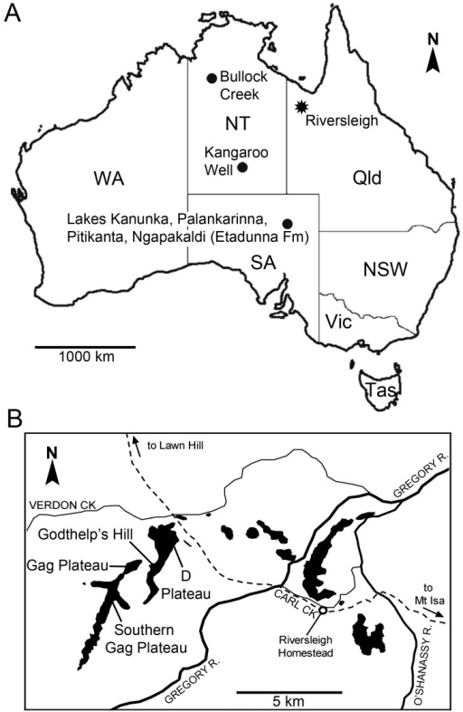 Map Showing A Australian Fossil Localities Discussed In The Text And B