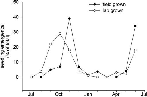 Field emergence time in 2013/14 of Col-0 seed set in the laboratory at 15°C or set in the field in York in spring 2013.Data represent the total percentage emergence at 2 weekly intervals of 500 seeds sown for each experiment.DOI:http://dx.doi.org/10.7554/eLife.05557.014