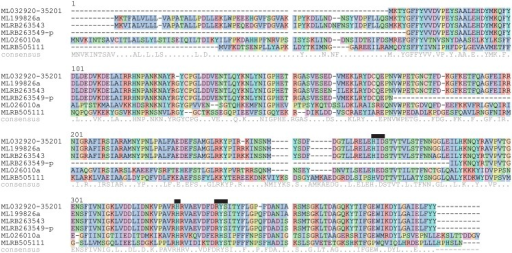 Multiple sequence alignment of Mnemiopsis proteins.ML032920-35201 is the putative full-length protein that connects ML032920a and ML35201a. MLRB263549-p indicates it is a partial sequence, as exons are missing in the scaffolds. The consensus sequence is indicated below, where identical residues are shown by '*' and similar residues are shown by '.'. Black boxes indicate the highly conserved residues putatively involved in iron and 2-oxoglutarate binding.