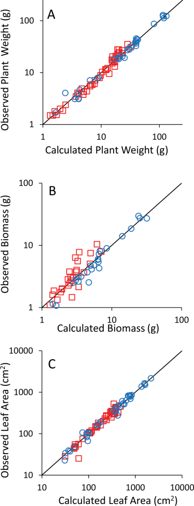 Plots of observed/calculated variables for Plant weight (A), Biomass (B), and Leaf area (C). Circles are data for well-watered plants and squares are for drought-stressed plants. The line is the 1:1 line. The scale is logarithmic for better data visualization but models were selected on raw data. (This figure is available in colour at JXB online.)