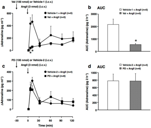 Effects of valsartan and PD123319 on the centrally administered AngII-induced elevation of plasma adrenaline levels.Valsartan (Val) (AT1 receptor blocker) (100 nmol per animal), vehicle-1 (3 μl DMF per animal), PD123319 (PD) (AT2 receptor blocker) (100 nmol per animal), or vehicle-2 (5 μl saline per animal) was i.c.v. administered 30 min before the administration of AngII (3 nmol per animal, i.c.v.). (a and c) Increment of plasma adrenaline above the basal level. Arrows indicate the administration of Val (a)/PD (c)/vehicle-1/vehicle-2 and AngII. (b and d) AUC of the elevation of plasma adrenaline above the basal level for each group of (a) and (c), respectively. *P < 0.05, when compared to the vehicle-1- and AngII-treated group with an unpaired Student's t-test. The other conditions are the same as those of Figures 1 and 2.
